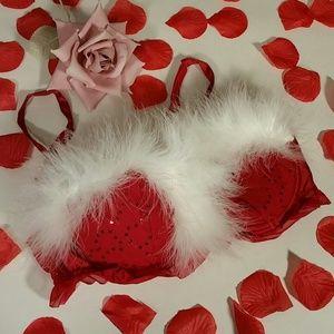 🆕  La SENZA Red Sequin White Fur Pushup Bra